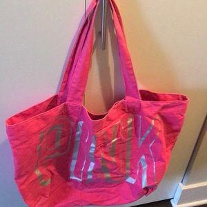 Large hot pink PINK tote bag